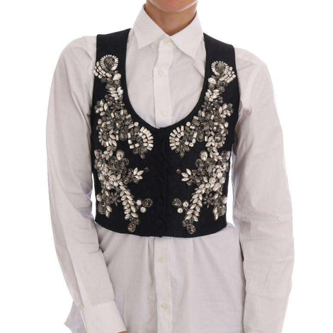 Dolce & Gabbana Black Brocade Crystal Vest - Women - Apparel - Suits - Classic - Dolce & Gabbana | Gethuda Fashion