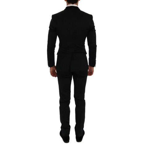 Black Brocade Double Breasted Slim Suit - Men - Apparel - Suits - Classic - Dolce & Gabbana | Gethuda Fashion