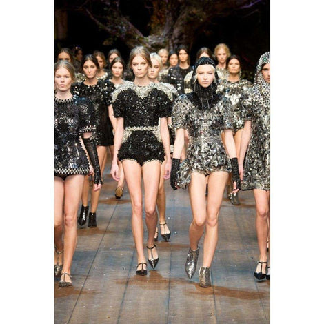 Dolce & Gabbana Black Clear Crystal Runway Blouse Top
