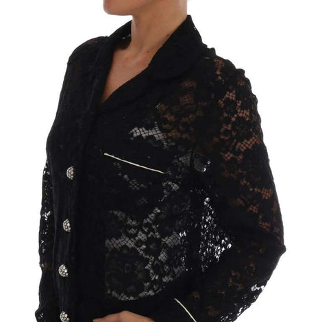 Dolce & Gabbana Black Crystal Button Floral Lace Shirt