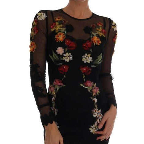 Dolce & Gabbana Black Floral Appliqué A-line Dress - Women - Apparel - Dresses - Casual - Dolce & Gabbana | Gethuda Fashion