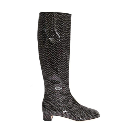 Dolce & Gabbana Black Gray Chevron Leather Boots - Women - Shoes - Boots - Dolce & Gabbana | Gethuda Fashion