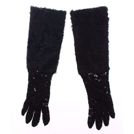 Dolce & Gabbana Black Lace Wool Lambskin Fur Elbow Gloves - Women - Accessories - Gloves - Dolce & Gabbana | Gethuda Fashion