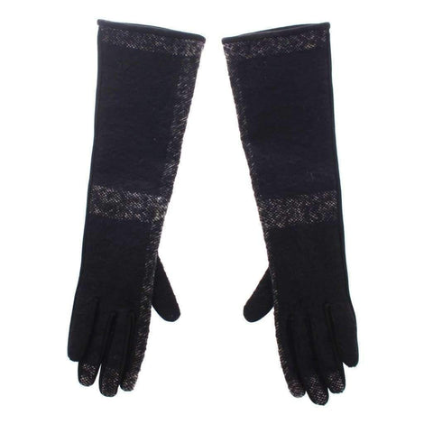 Dolce & Gabbana Black Lambskin Leather Wool Elbow Gloves Silk - Women - Accessories - Gloves - Dolce & Gabbana | Gethuda Fashion