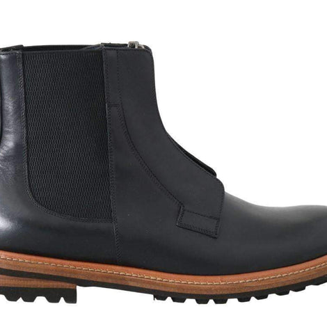 Dolce & Gabbana Black Leather Ankle Stretch Boots - Men - Shoes - Boots - Dolce & Gabbana | Gethuda Fashion