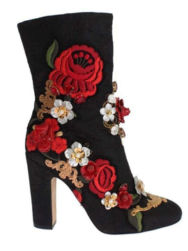 Dolce & Gabbana Black Leather Roses Crystal Brocade Heel Boots