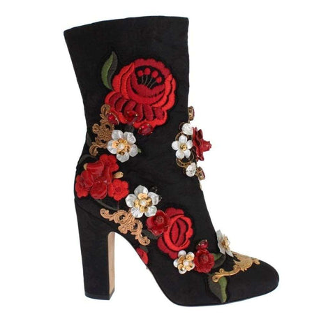 Dolce & Gabbana Black Leather Roses Crystal Brocade Heel Boots - Women - Shoes - Boots - Dolce & Gabbana | Gethuda Fashion
