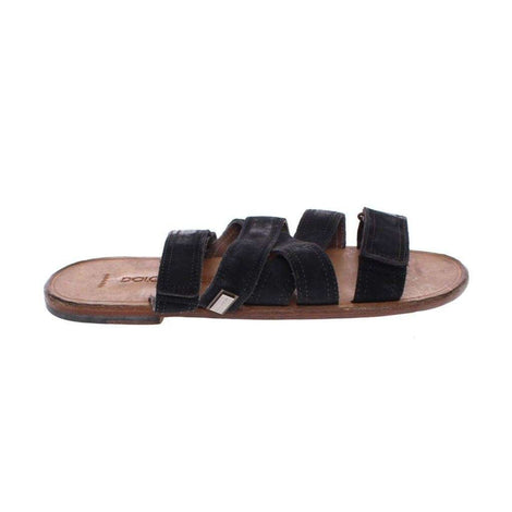 Dolce & Gabbana Black Leather Strap Slides Sandals Shoes - Men - Shoes - Sandals - Dolce & Gabbana | Gethuda Fashion