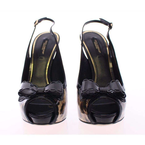 Dolce & Gabbana Black Leopard Leather Slingback Shoes - Women - Shoes - Wedges Espadrilles - Dolce & Gabbana | Gethuda Fashion