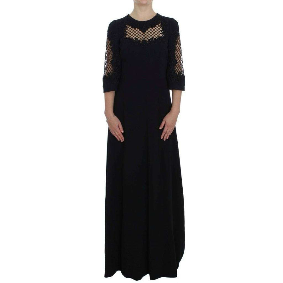 Dolce & Gabbana Black Ricamo Wool Stretch Maxi Dress - Women - Apparel - Dresses - Casual - Dolce & Gabbana | Gethuda Fashion