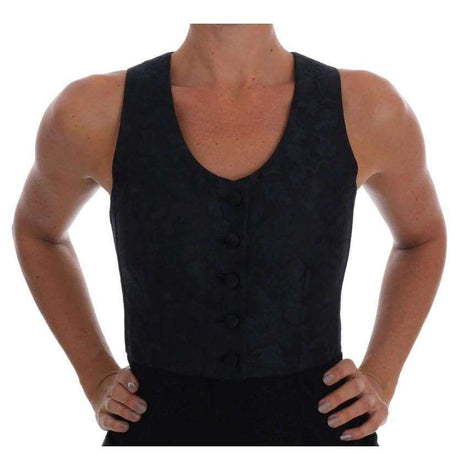 Dolce & Gabbana Black Silk Blue Baroque Brocade Vest