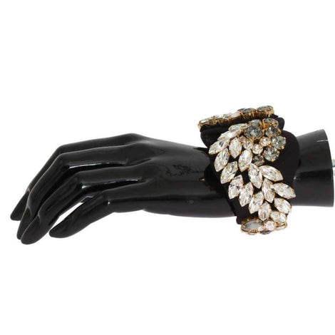 Dolce & Gabbana Black Silk Clear Gray Crystal Bracelet