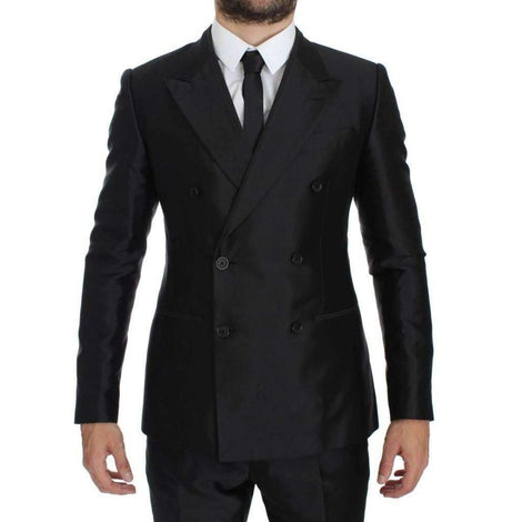 Dolce & Gabbana Black Silk Double Breast Slim 4 Piece Suit - Men - Apparel - Suits - Classic - Dolce & Gabbana | Gethuda Fashion