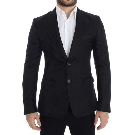 Dolce & Gabbana Black silk slim fit blazer - Men - Apparel - Outerwear - Blazers - Dolce & Gabbana | Gethuda Fashion
