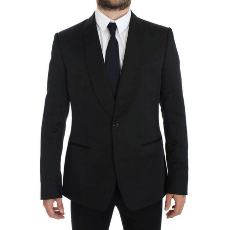 Dolce & Gabbana Black Silk Slim One Button Blazer - Men - Apparel - Outerwear - Blazers - Dolce & Gabbana | Gethuda Fashion