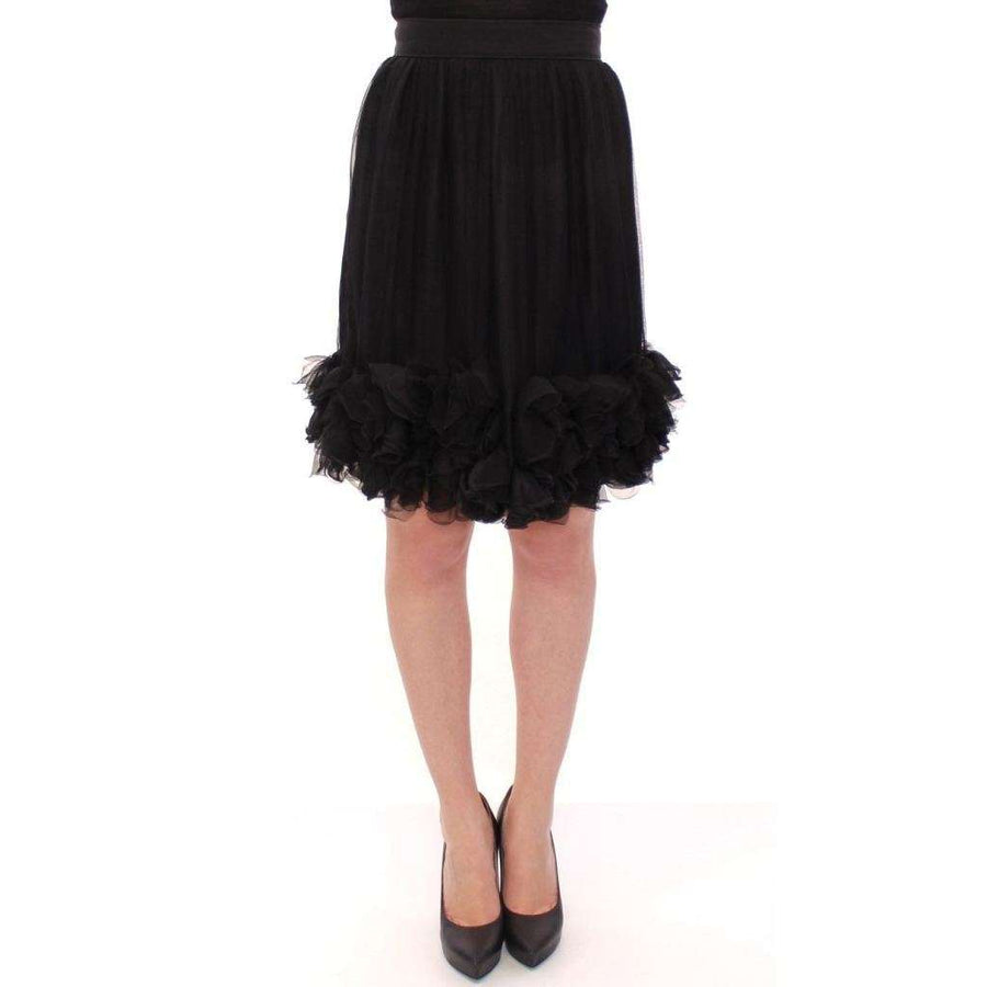 Dolce & Gabbana Black Silk Transparent Above Knees Skirt - Women - Apparel - Skirts - Knee Length - Dolce & Gabbana | Gethuda Fashion