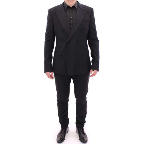 Dolce & Gabbana Black Striped Double Breasted Slim Fit Suit