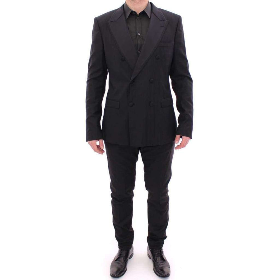 Dolce & Gabbana Black Striped Double Breasted Slim Fit Suit - Men - Apparel - Suits - Classic - Dolce & Gabbana | Gethuda Fashion