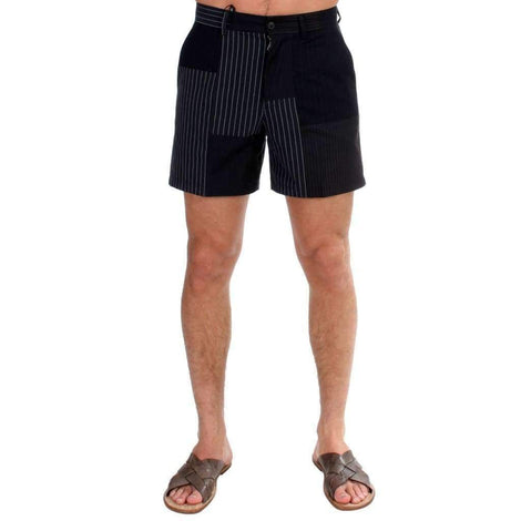 Dolce & Gabbana Black Striped Patchwork Cotton Linen Shorts - Men - Apparel - Shorts - Casual - Dolce & Gabbana | Gethuda Fashion