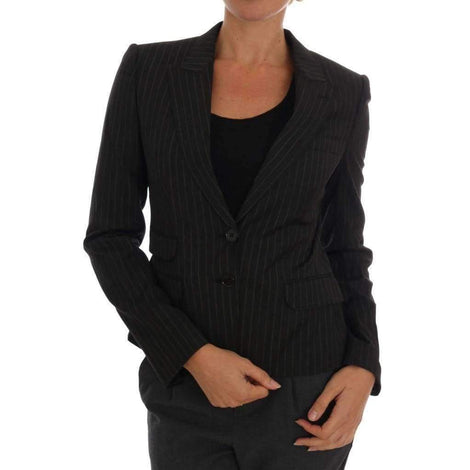 Dolce & Gabbana Black Striped Wool Blazer Jacket