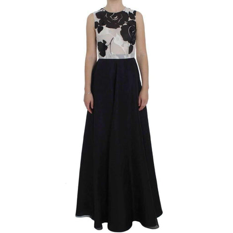Black White Floral Silk Sheath Gown Dress - Women - Apparel - Dresses - Casual - Dolce & Gabbana | Gethuda Fashion