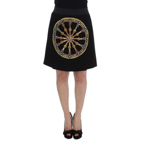 Black Wool Carretto Crystal A-Line Skirt - Women - Apparel - Skirts - Dolce & Gabbana | Gethuda Fashion