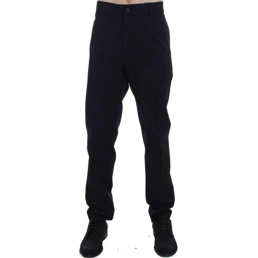 Dolce & Gabbana Black Wool Cotton Stretch Casual Pants - Men - Apparel - Trousers - Dolce & Gabbana | Gethuda Fashion