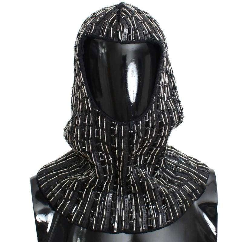 Dolce & Gabbana Black Wool Crystal Runway Crochet Hood - Men - Accessories - Scarves - Dolce & Gabbana | Gethuda Fashion