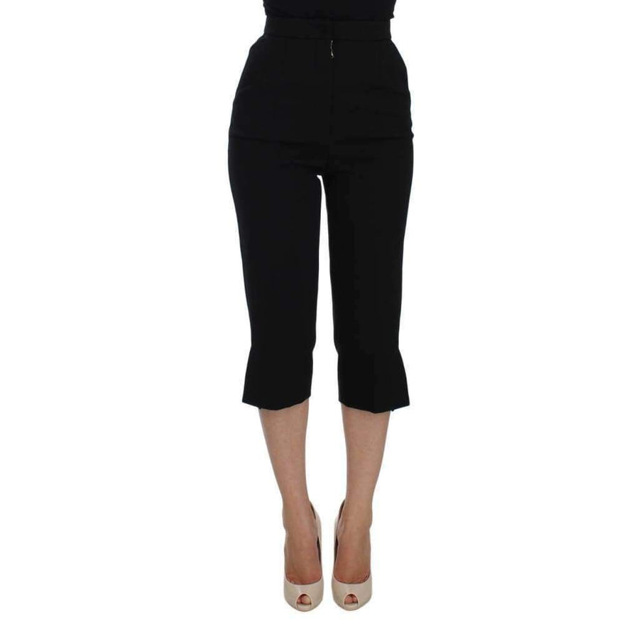 Dolce & Gabbana Black Wool Stretch High Waist 3/4 Pants - Women - Apparel - Denim - Jeans - Dolce & Gabbana | Gethuda Fashion