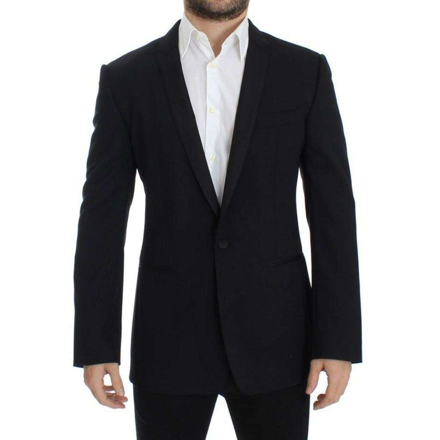 Dolce & Gabbana Black Wool Stretch Slim Fit Blazer