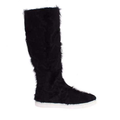 Dolce & Gabbana Black Xiangao Lamb Fur Leather Boots - Women - Shoes - Boots - Dolce & Gabbana | Gethuda Fashion