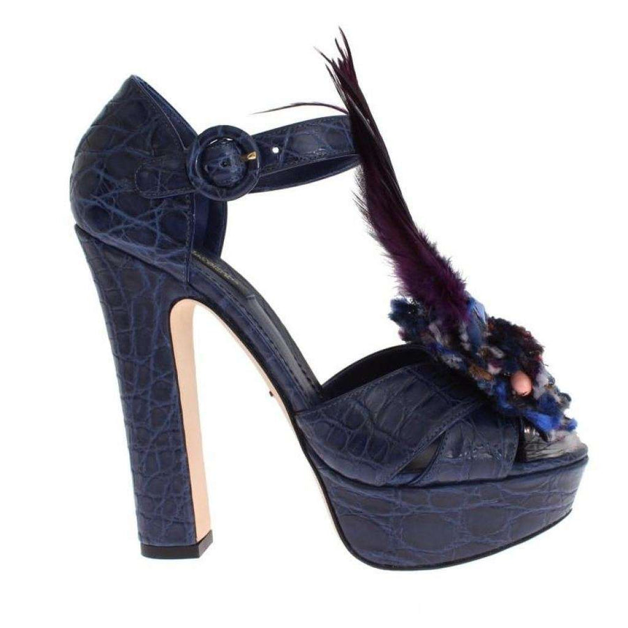 Dolce & Gabbana Blue Caiman Crocodile Leather Crystal Shoes - Women - Shoes - Sandals - Dolce & Gabbana | Gethuda Fashion
