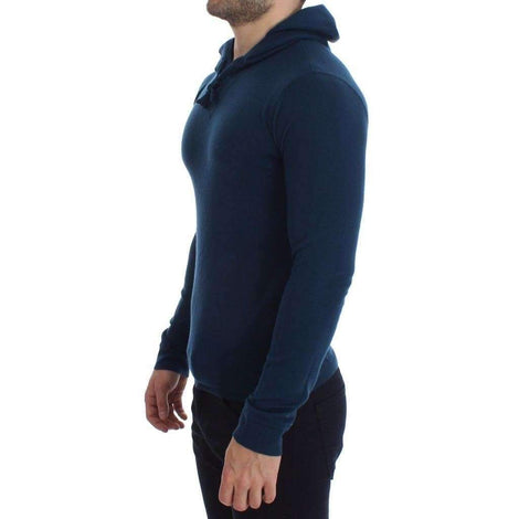 Dolce & Gabbana Blue Cashmere Hooded Sweater Pullover Top