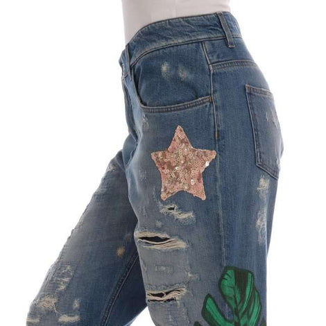 Dolce & Gabbana Blue Cotton Boyfriend Sequined Jeans