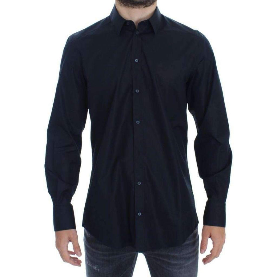 Dolce & Gabbana Blue cotton slim fit casual shirt - Men - Apparel - Shirts - Dress Shirts - Dolce & Gabbana | Gethuda Fashion