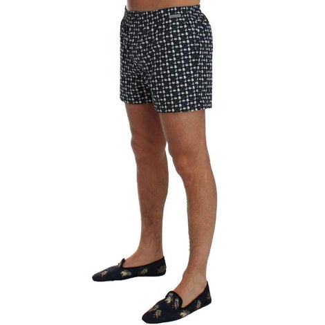 Blue Hat Print Cotton Pajama Shorts - Men - Apparel - Lingerie And Sleepwear - Pajama Sets - Dolce & Gabbana | Gethuda Fashion