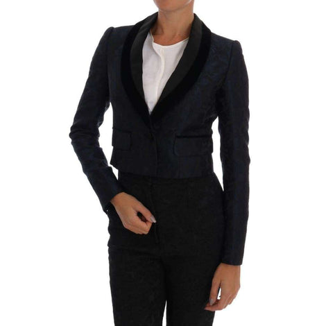 Dolce & Gabbana Blue Jacquard Short Blazer Jacket - Women - Apparel - Suits - Classic - Dolce & Gabbana | Gethuda Fashion