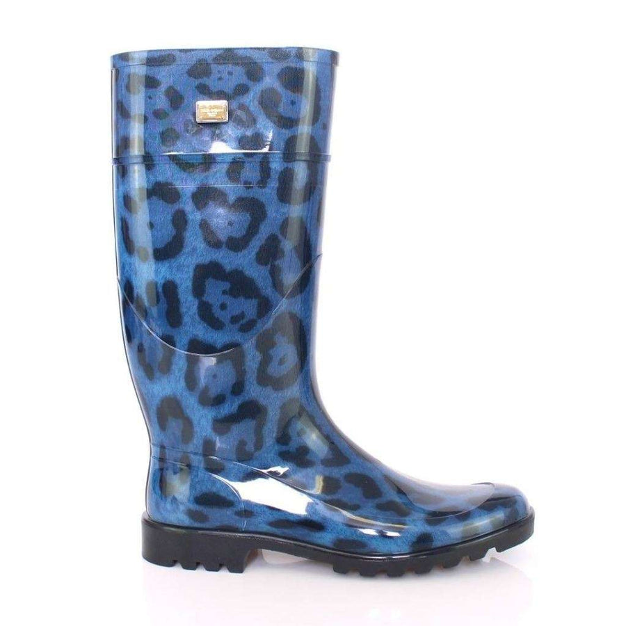 Dolce & Gabbana Blue Leopard Rubber Rain Boots Shoes Wellies - Women - Shoes - Rain Boots - Dolce & Gabbana | Gethuda Fashion