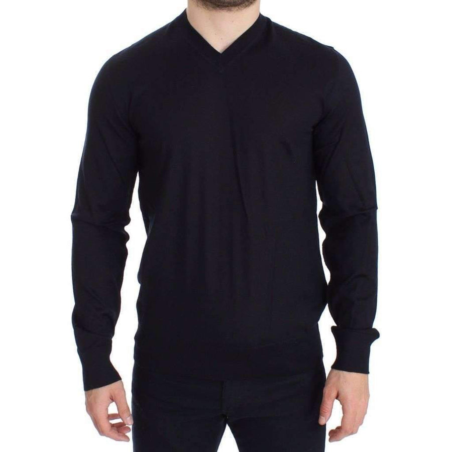 Dolce & Gabbana Blue Silk Cashmere V-neck Sweater Pullover - Men - Apparel - Sweaters - Pull Over - Dolce & Gabbana | Gethuda Fashion
