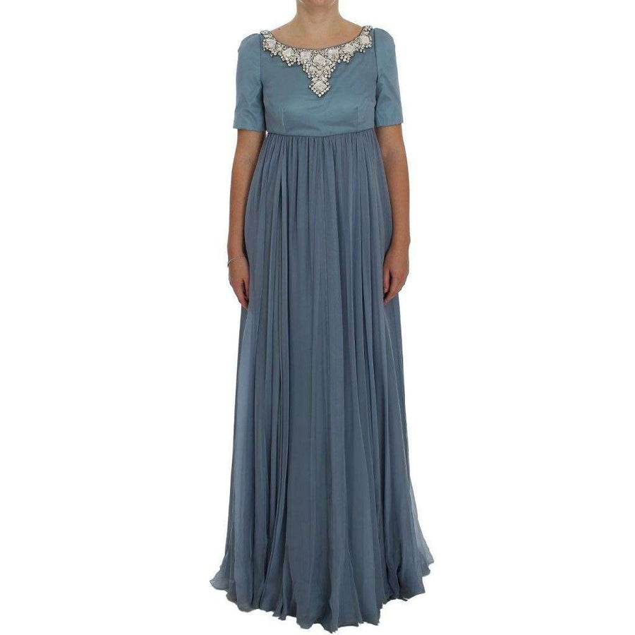 Dolce & Gabbana Blue Silk Crystal Sheath Gown Ball Dress - Women - Apparel - Dresses - Casual - Dolce & Gabbana | Gethuda Fashion