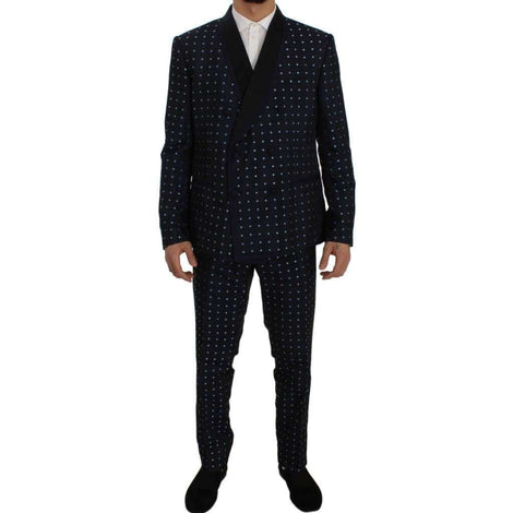 Dolce & Gabbana Blue Silk Fantasy Slim Fit 3 Piece Suit - Men - Apparel - Suits - Classic - Dolce & Gabbana | Gethuda Fashion