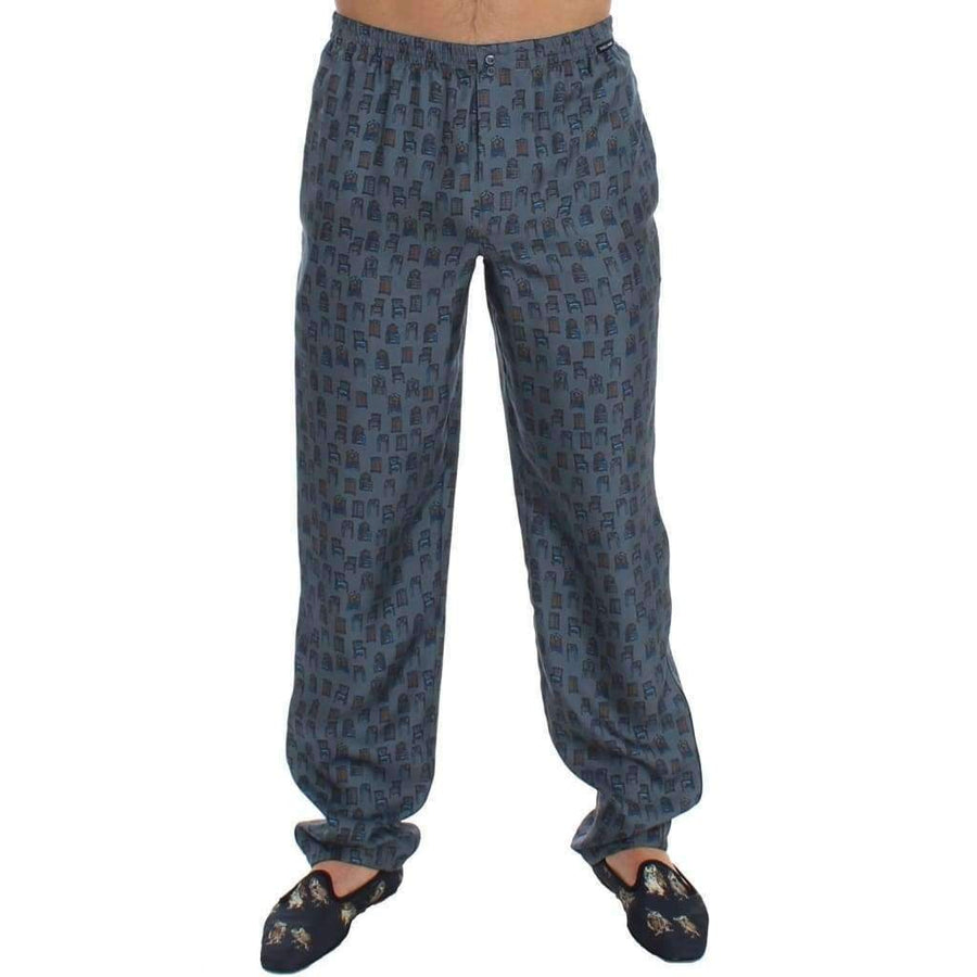 Dolce & Gabbana Blue SILK Pajama Lounge Pants Trousers Sleepwear - Men - Apparel - Lingerie And Sleepwear - Pajama Sets - Dolce & Gabbana | Gethuda Fashion