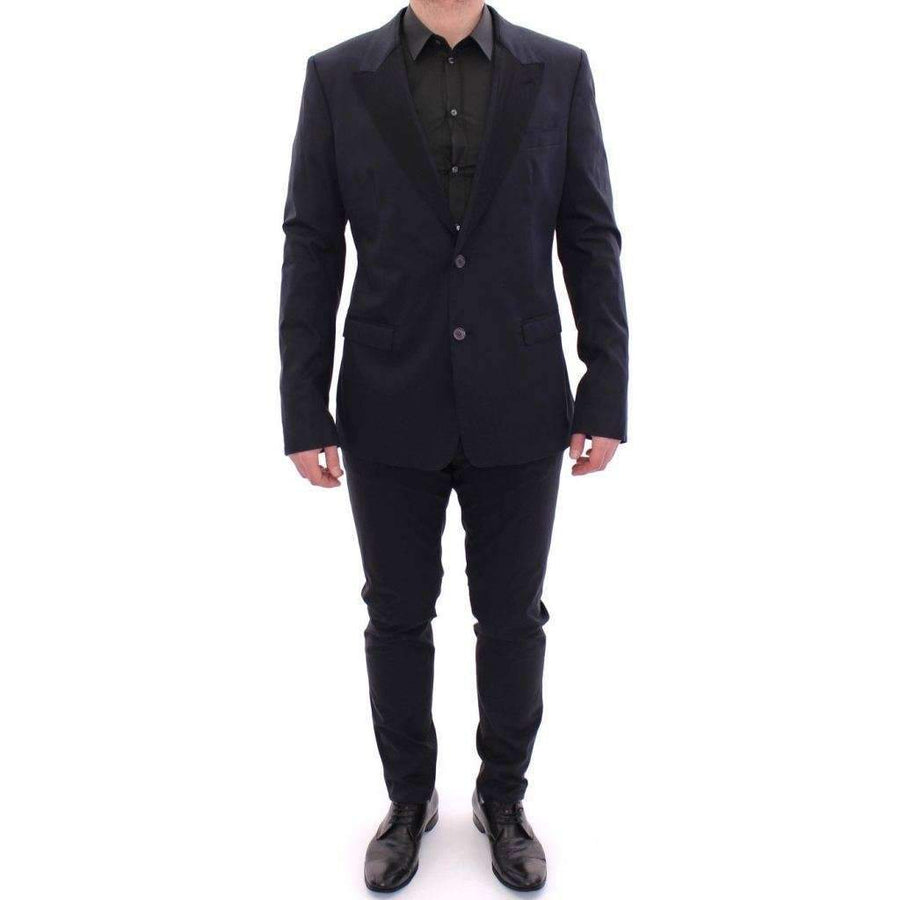 Dolce & Gabbana Blue Silk Stretch Two Button Slim Fit Suit - Men - Apparel - Suits - Classic - Dolce & Gabbana | Gethuda Fashion