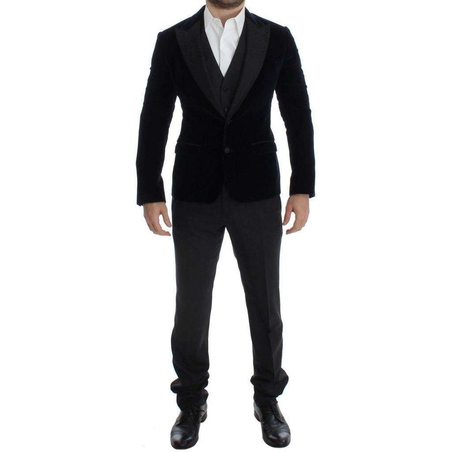 Dolce & Gabbana Blue Velvet Gray 3 Piece Slim Fit Suit