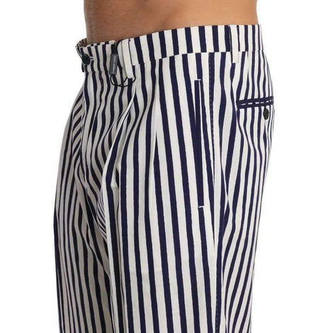 Dolce & Gabbana Blue White Striped Cotton Shorts - Men - Apparel - Shorts - Casual - Dolce & Gabbana | Gethuda Fashion