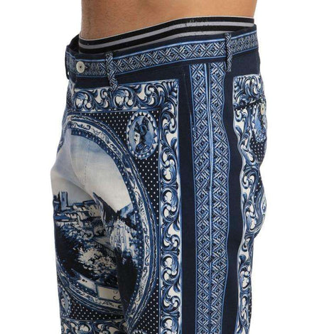Dolce & Gabbana Blue White Taormina Print Shorts - Men - Apparel - Shorts - Casual - Dolce & Gabbana | Gethuda Fashion