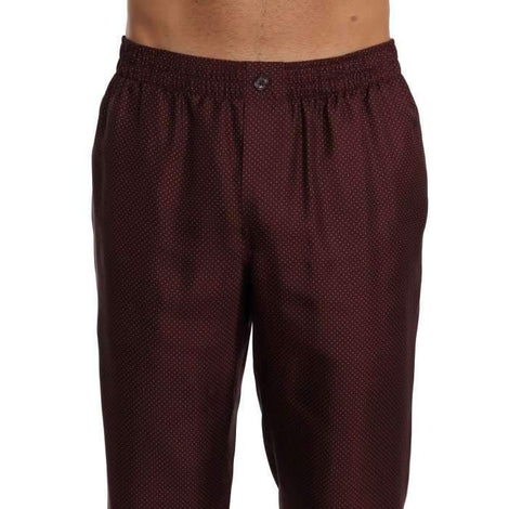 Dolce & Gabbana Bordeaux Dotted Silk Pajama Pants - Men - Apparel - Lingerie And Sleepwear - Pajama Sets - Dolce & Gabbana | Gethuda Fashion