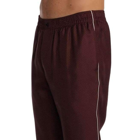 Dolce & Gabbana Bordeaux Dotted Silk Pajama Pants