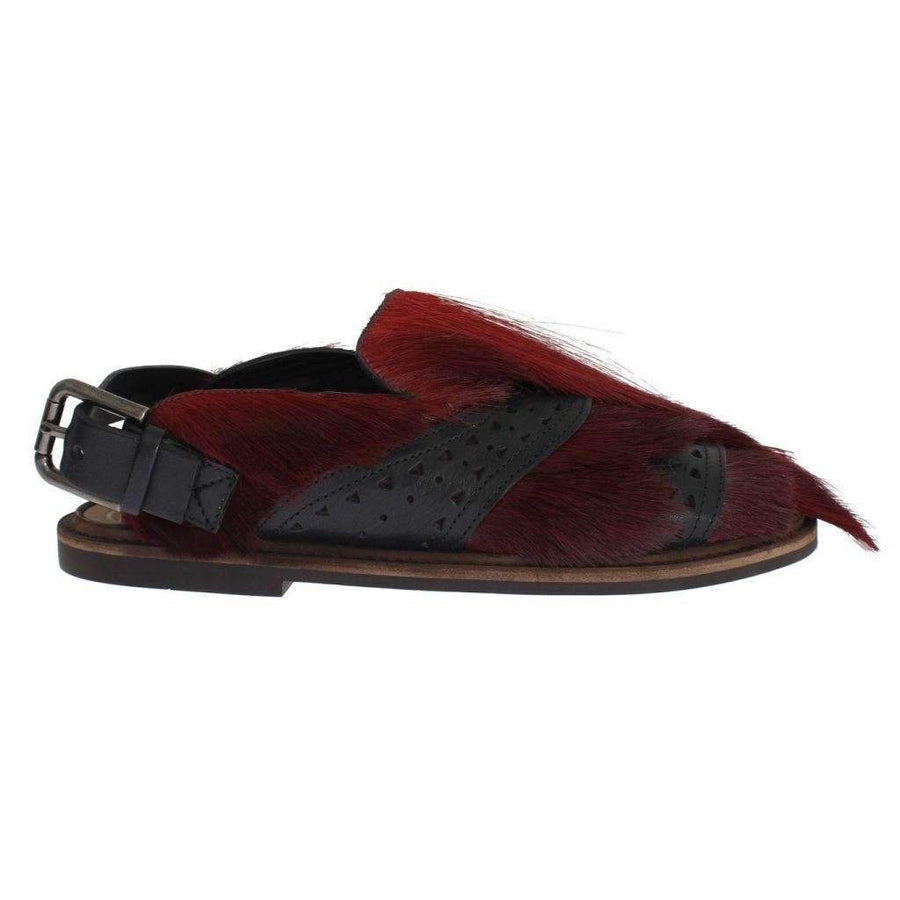 Dolce & Gabbana Bordeaux Gazella Fur Leather Sandal Shoes - Men - Shoes - Sandals - Dolce & Gabbana | Gethuda Fashion