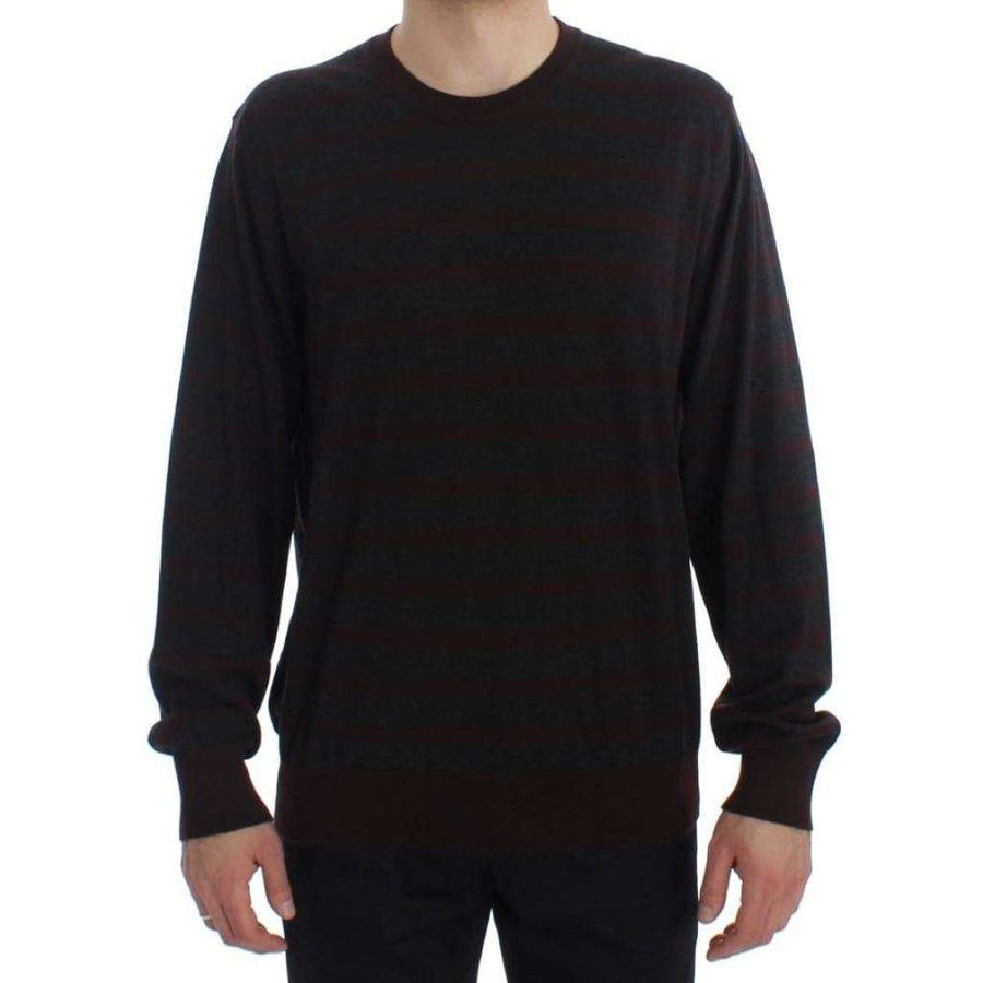 Dolce & Gabbana Bordeaux Gray Cashmere Pullover Sweater - Men - Apparel - Sweaters - Pull Over - Dolce & Gabbana | Gethuda Fashion